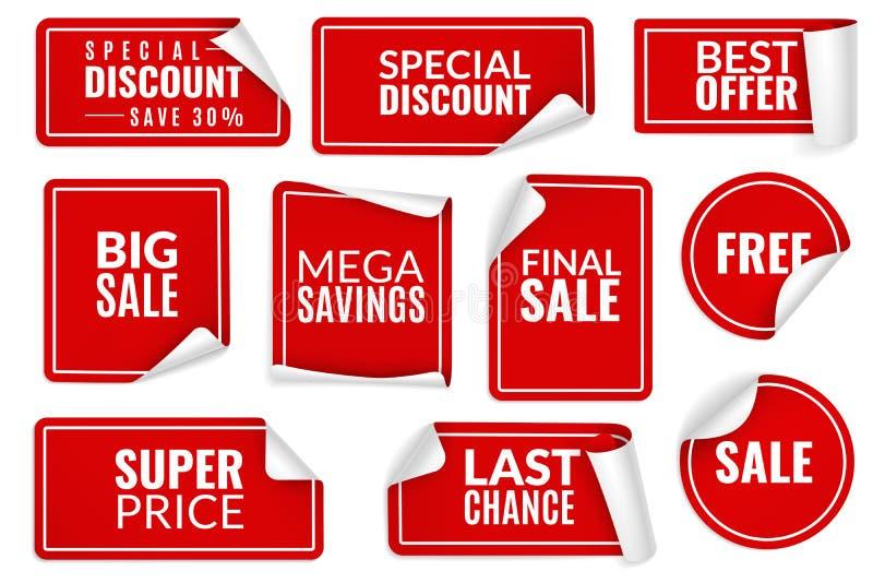 Rode gekrulde stickers De verpakte document stickerreeks, prijs etiketteert de hoekbladen van de verkoopbanners gebogen rand Adve stock illustratie