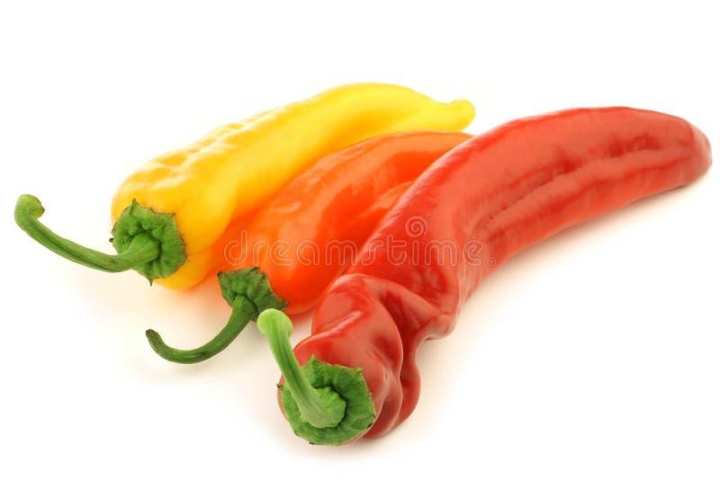 Rode, gele en oranje paprika royalty-vrije stock foto