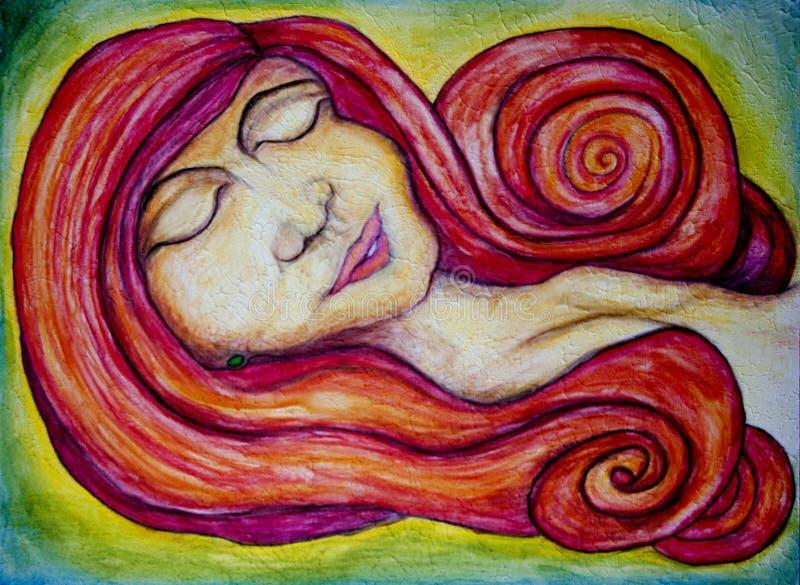 Rode geleide vrouw