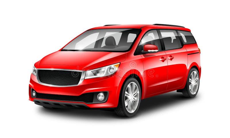 Rode Generische Minivan-Auto op Witte Achtergrond De mening van het perspectief 3D Illustratie met Geïsoleerde Weg stock illustratie