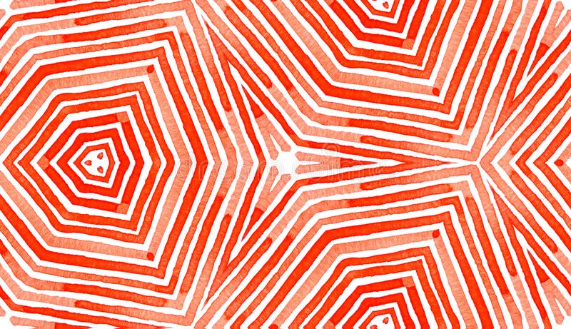 Rode Geometrische Waterverf Goddelijk Naadloos Patroon royalty-vrije stock foto