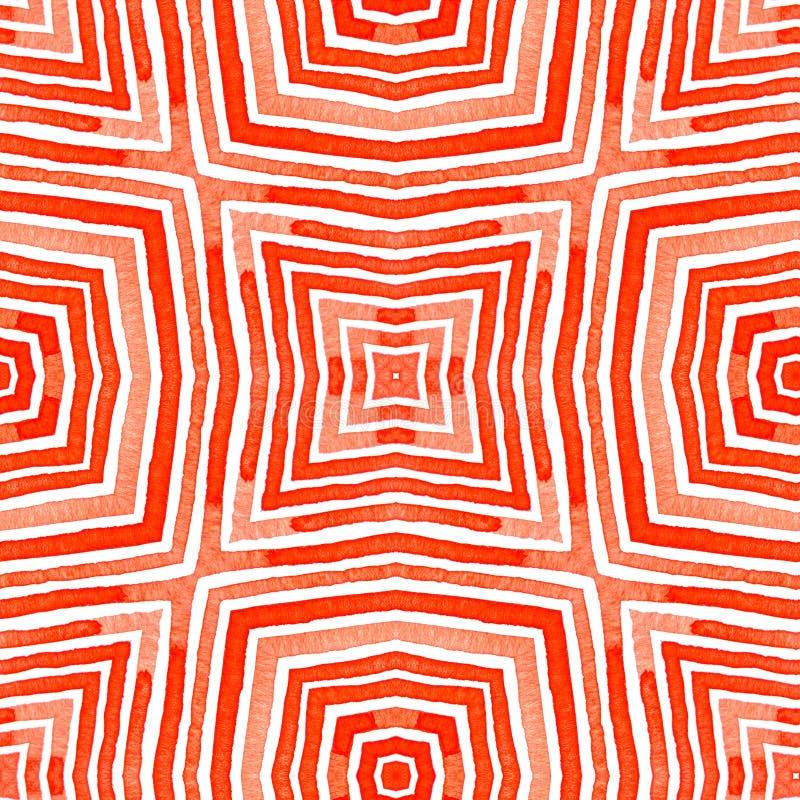 Rode Geometrische Waterverf Goddelijk Naadloos Patroon royalty-vrije stock afbeelding