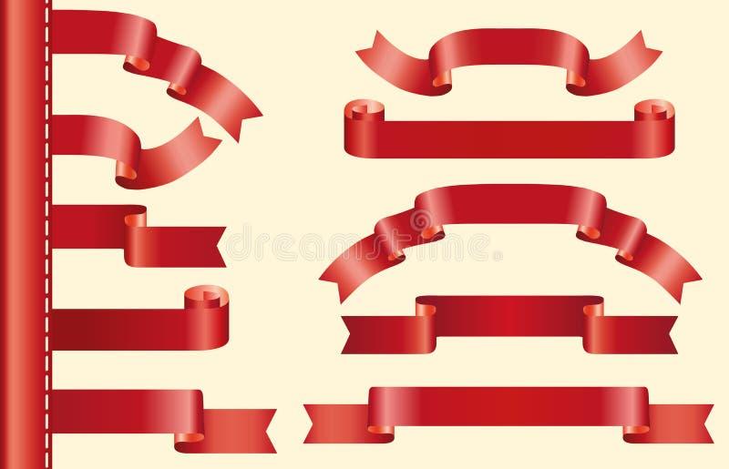 Rode geplaatste linten stock afbeelding