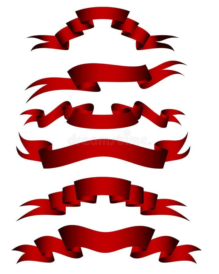 Rode geplaatste linten vector illustratie