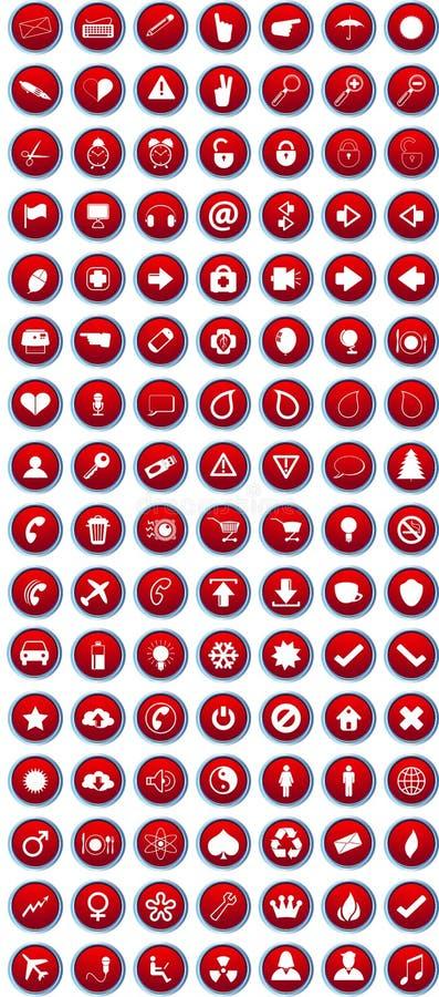 Rode geplaatste pictogrammen stock illustratie