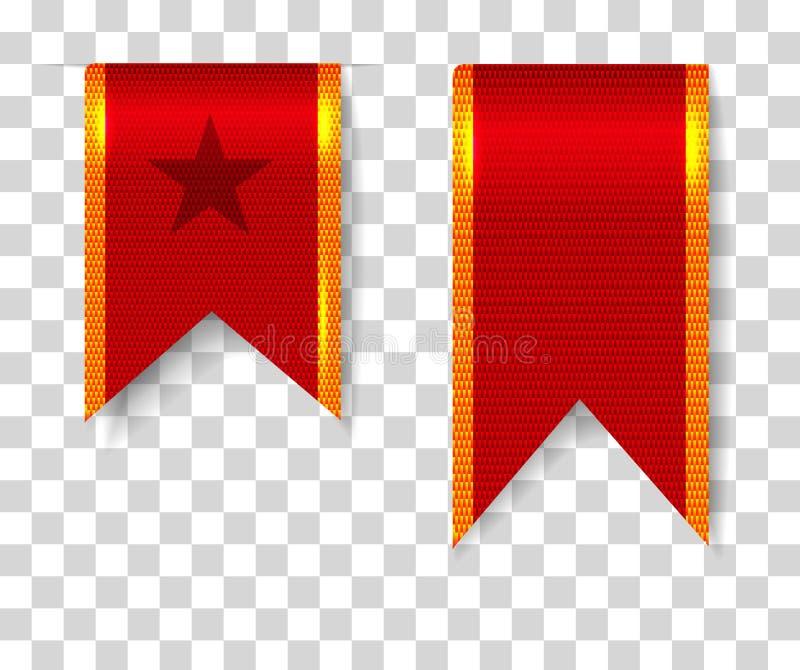 Rode geplaatste referentielinten royalty-vrije illustratie