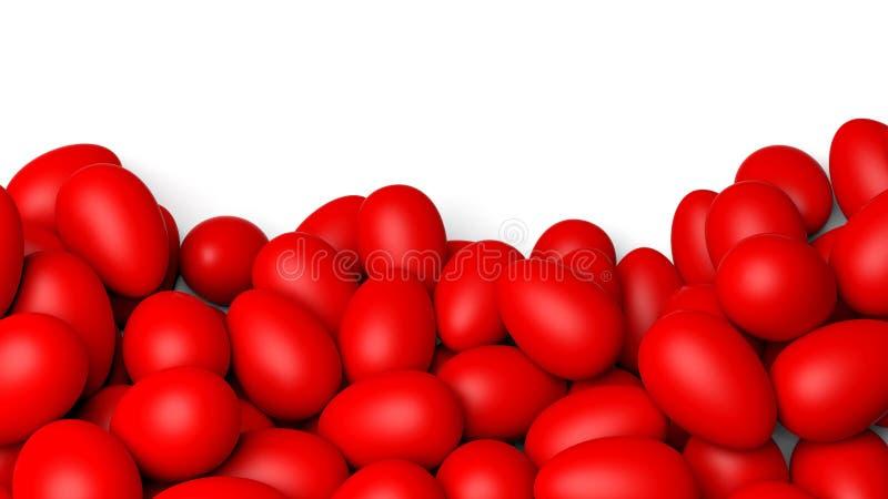 Rode Geschilderde Paaseieren stock illustratie
