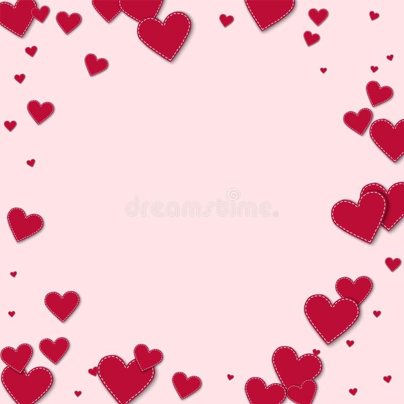 Rode gestikte document harten stock illustratie