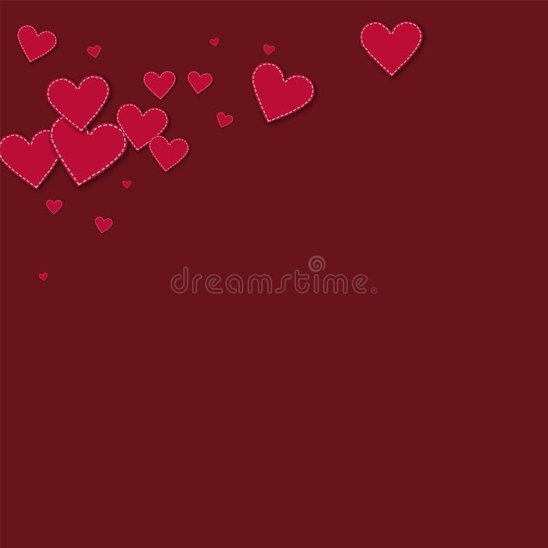Rode gestikte document harten Hoogste linkerhoek op wijn royalty-vrije illustratie