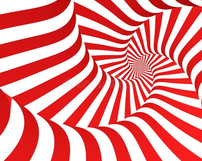 Rode Gestreepte Spiraal stock illustratie
