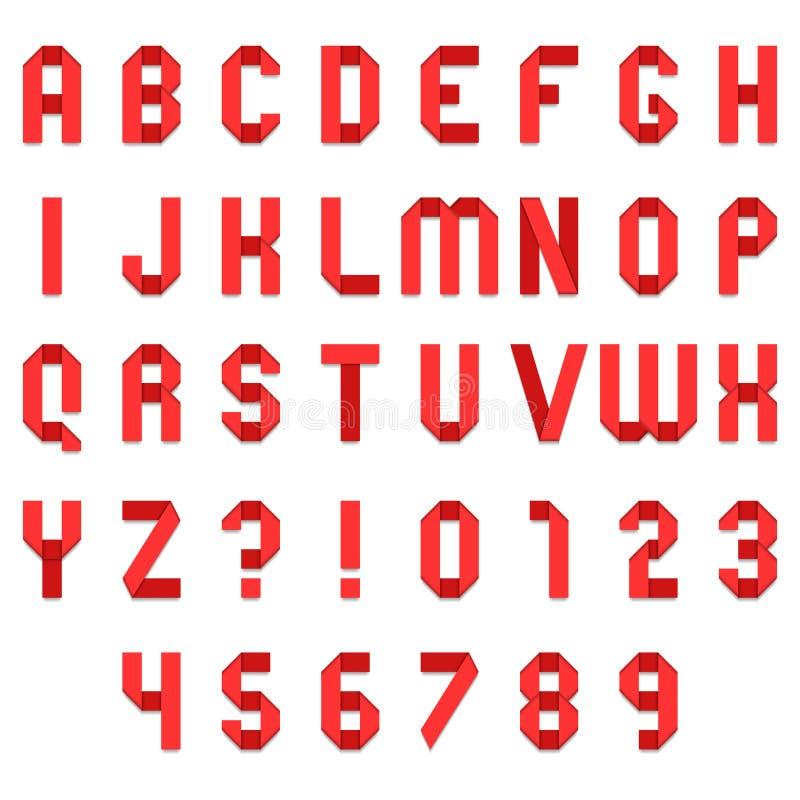 Rode Gevouwen Document Doopvont vector illustratie