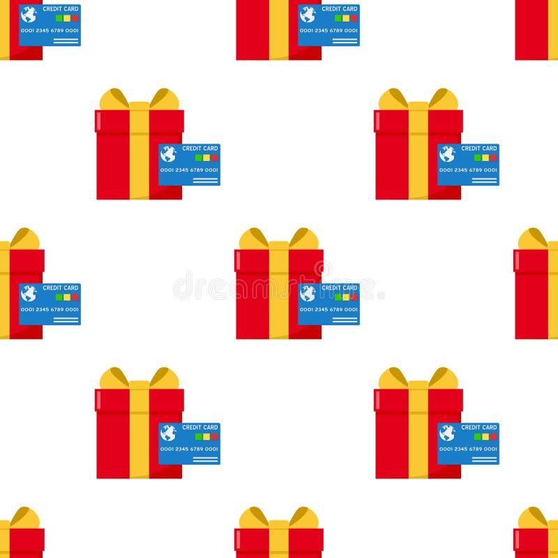 Rode Gift en Blauw Creditcardpatroon stock illustratie