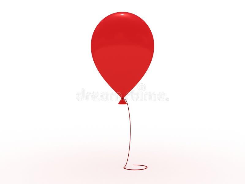 Rode glanzende baloon met kabel op wit royalty-vrije illustratie