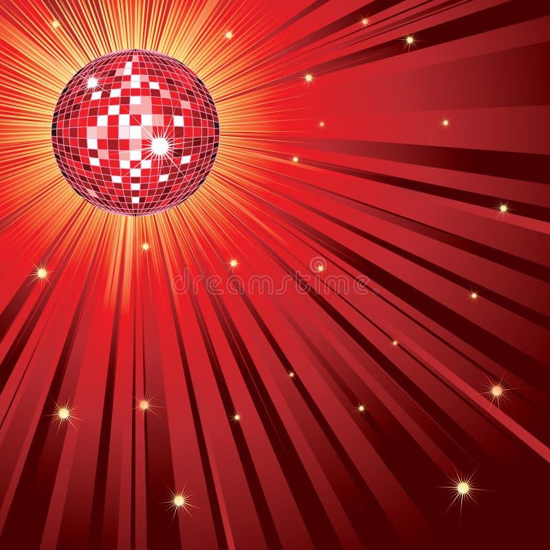 Rode glanzende disco-bal stock illustratie