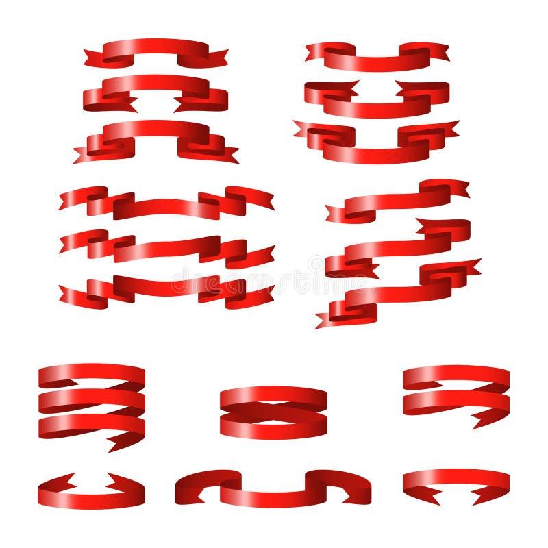 Rode glanzende lint vectorbanners stock foto's