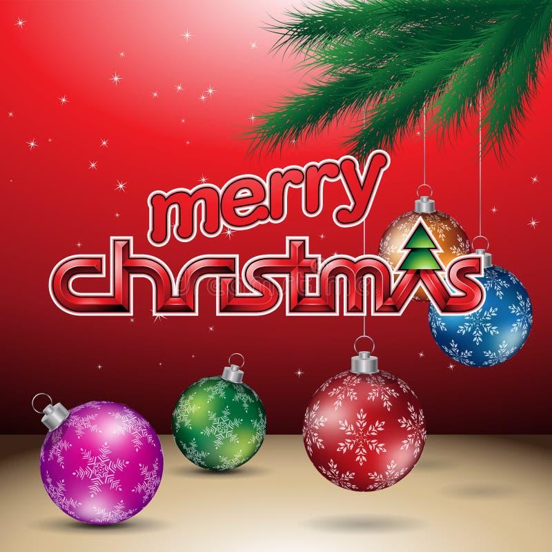 Rode Glanzende Vrolijke Kerstmis Vectorillustratie Als achtergrond vector illustratie