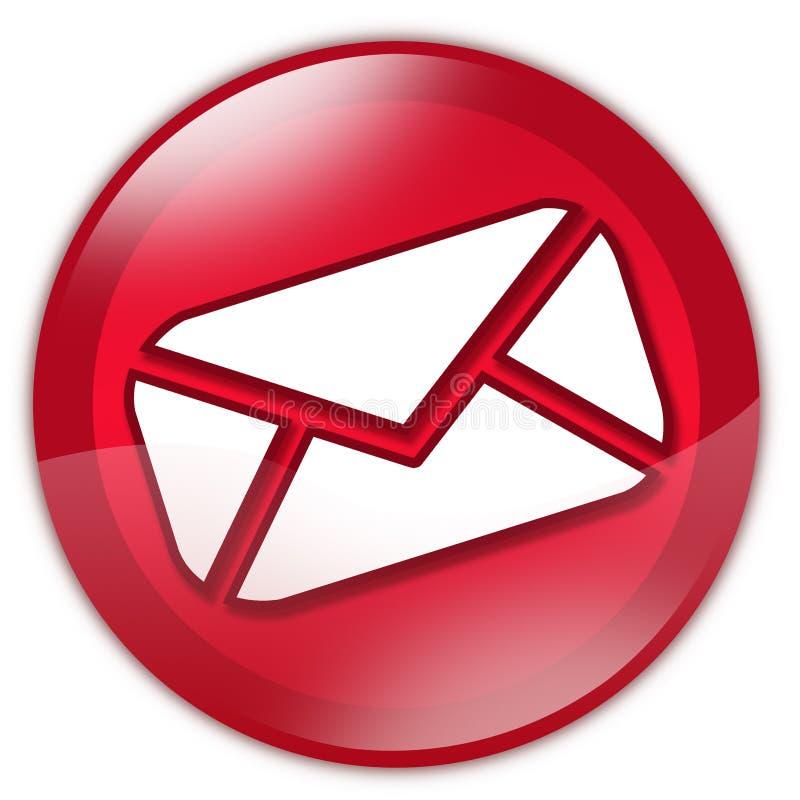 Rode glase-mail knoop royalty-vrije illustratie