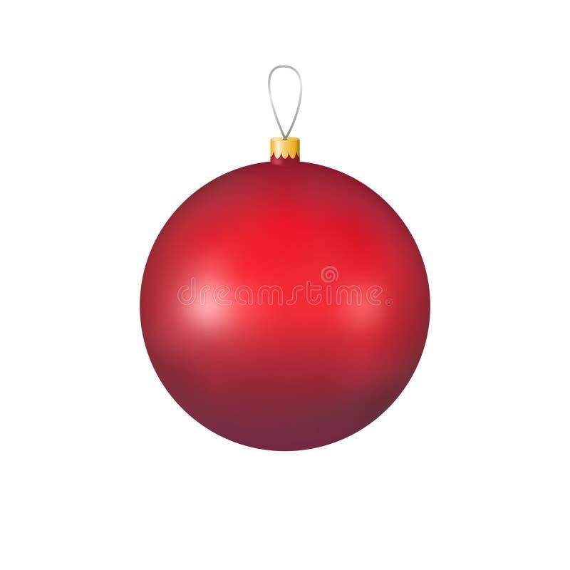 Rode glaskerstmis siert bal voor decoratie en ontwerp stock illustratie