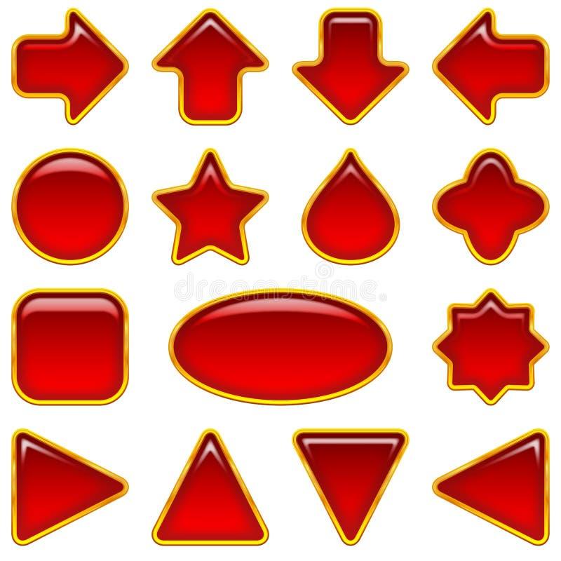Rode glasknopen, reeks stock illustratie