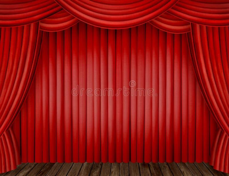 Rode gordijnen royalty-vrije stock foto's