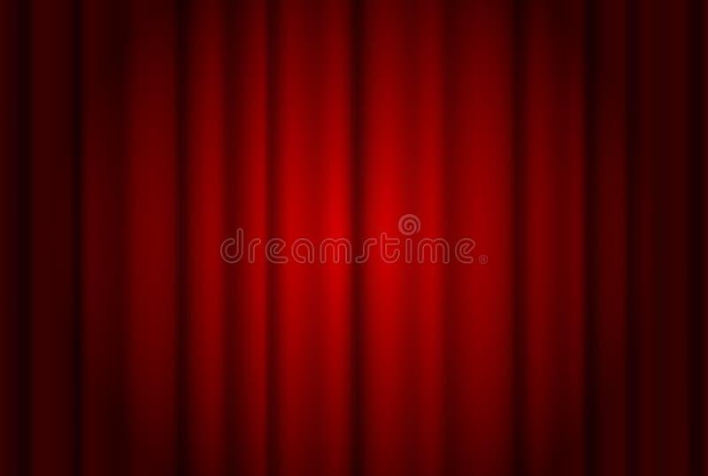 Rode gordijnen brede die achtergrond door een straal van schijnwerper wordt verlicht Het rode theater toont gordijn vectorillustr vector illustratie