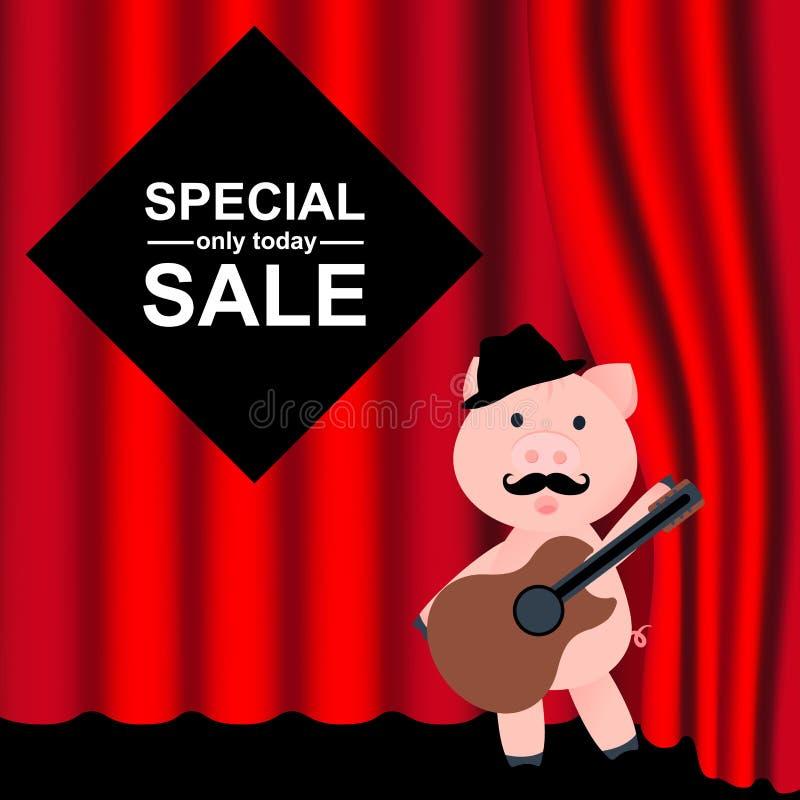 Rode gordijnen en gordijnen Beeldverhaalvarken met hoed en gitaar Achtergrond voor speciale verkoop Speciale aanbieding binnen royalty-vrije illustratie