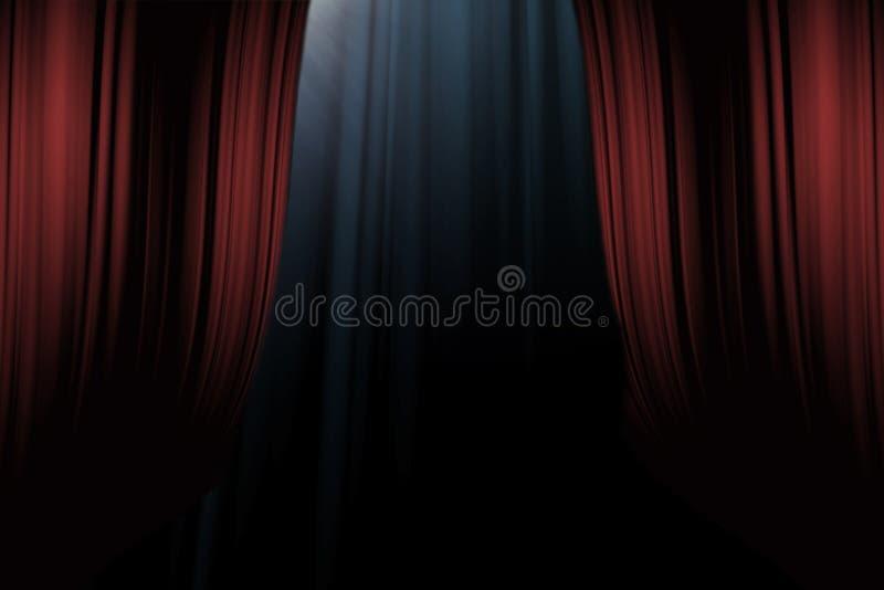 Rode gordijnen op stadium in dramatheater stock afbeelding