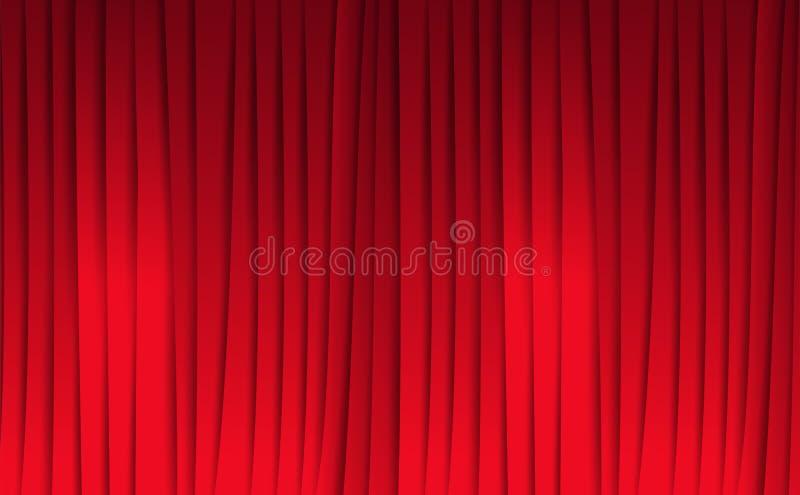 Rode gordijnen, viering en toekenning, abstracte achtergrond, vectorillustratie stock illustratie