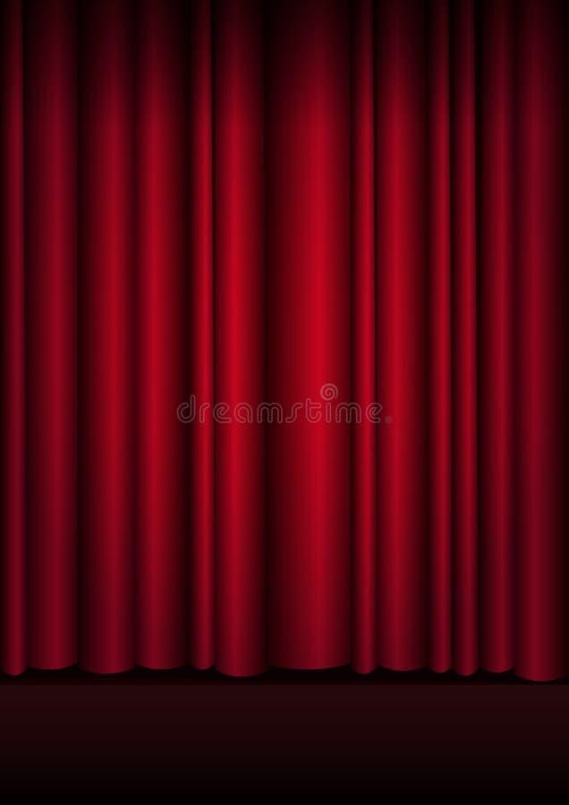 Rode gordijnenstadium, theater of operaachtergrond met schijnwerper stock illustratie
