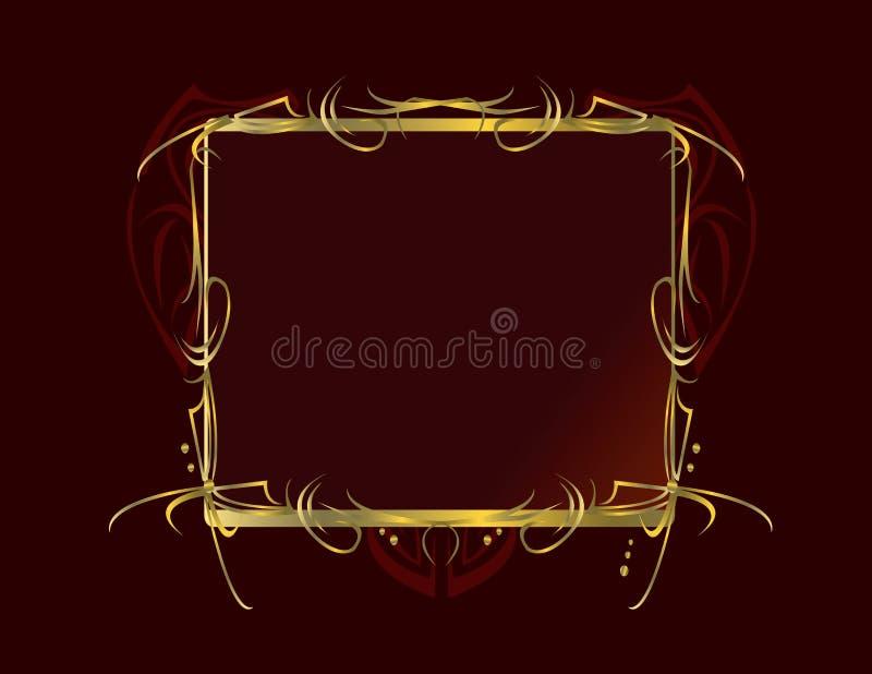Rode gouden decoratieve frame achtergrond vector illustratie