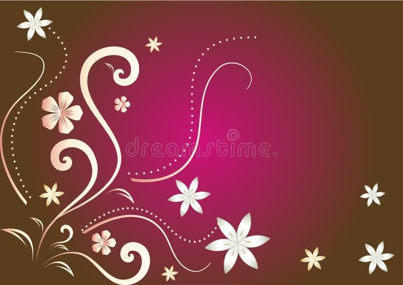 Rode, gouden en witte abstracte bloemenachtergrond stock illustratie