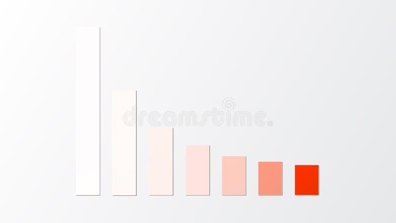 Rode gradiënt onderaan tendensstaafdiagram royalty-vrije illustratie