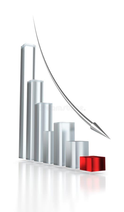 Rode Grafiek en BenedenPijl vector illustratie
