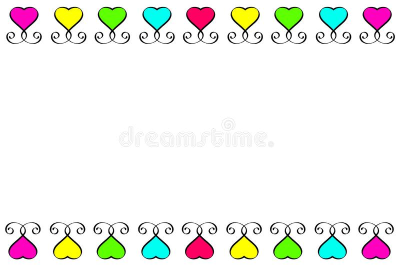 Rode Groenachtig blauwe Roze Gele het teken Uitstekende reeks van het liefdehart Plaats voor tekst Van de Hartenelementen van het vector illustratie