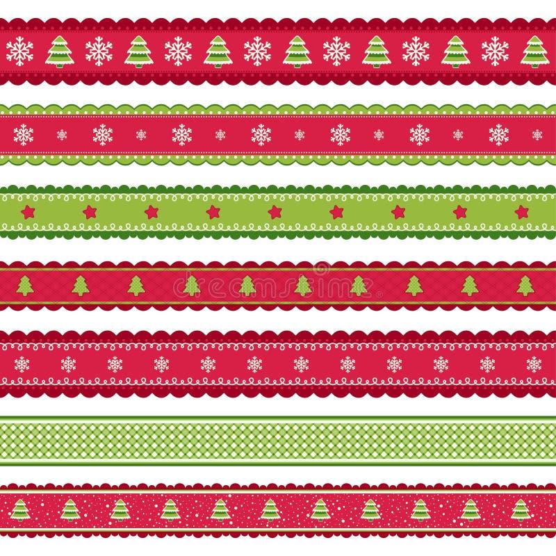 Rode groene Christmass-linten royalty-vrije illustratie