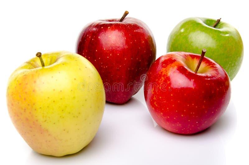 Rode, groene en gele appelen stock fotografie