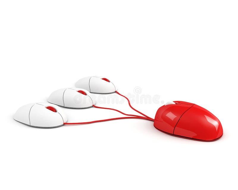 Rode grote chef- muis die zijn personeel leidt stock illustratie