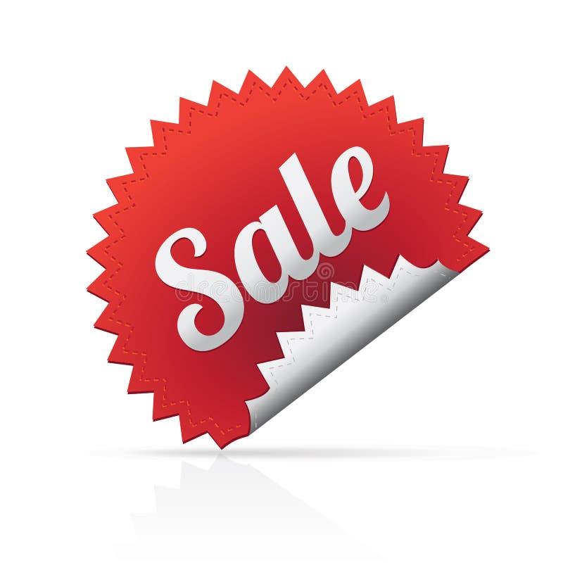 Rode grote verkoopsticker op witte achtergrond royalty-vrije illustratie
