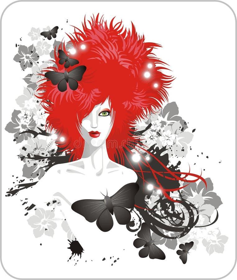 Download Rode haired vrouw vector illustratie. Afbeelding bestaande uit behang - 1860107