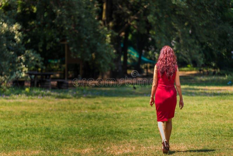 Rode haired vrouw die aan hout lopen royalty-vrije stock afbeeldingen