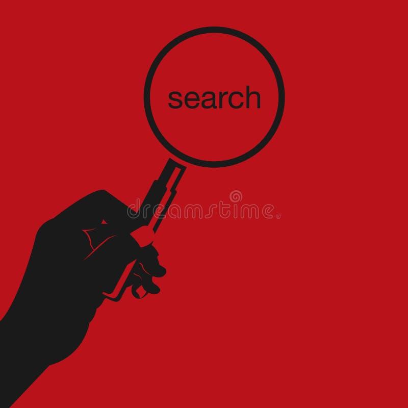 Rode hand die een vergrootglas houden Concept het zoeken analyse, inspectieconcepten Vlakke beeldverhaalstijl Vector illustratie vector illustratie