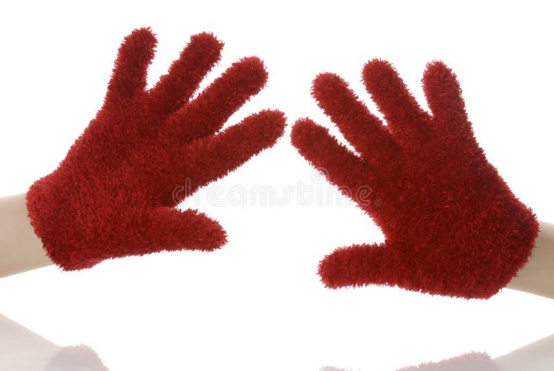Rode handschoenen stock fotografie
