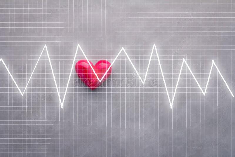 Rode hart en impuls grapg analyseachtergrond stock foto's