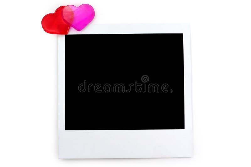Rode hart en polaroidfoto royalty-vrije stock foto's
