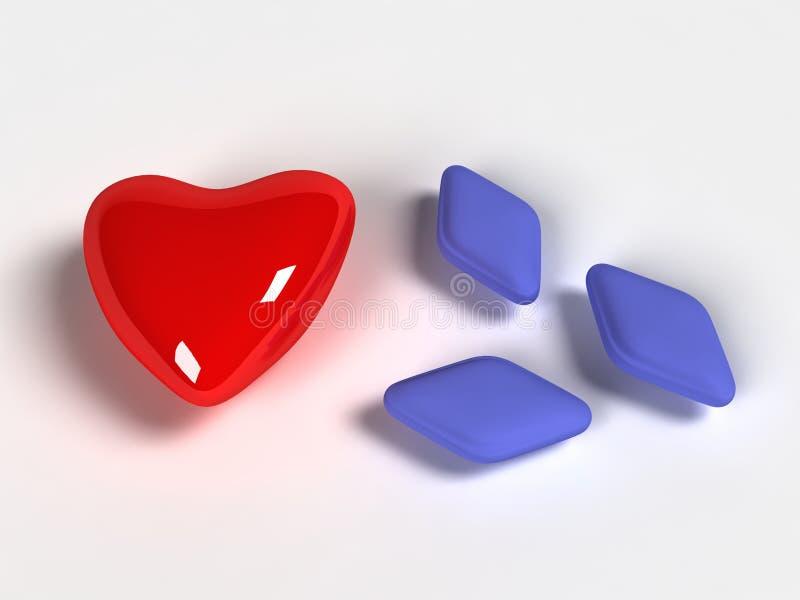 Rode hart en Viagra stock illustratie