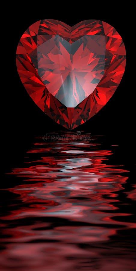 Rode hart gevormde granaat die water wordt overdacht stock illustratie