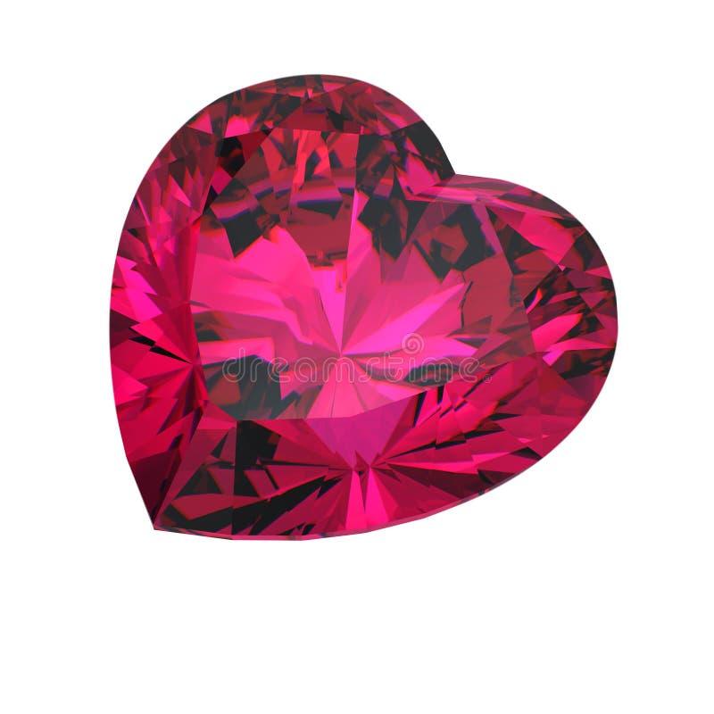 Rode hart gevormde robijn royalty-vrije illustratie