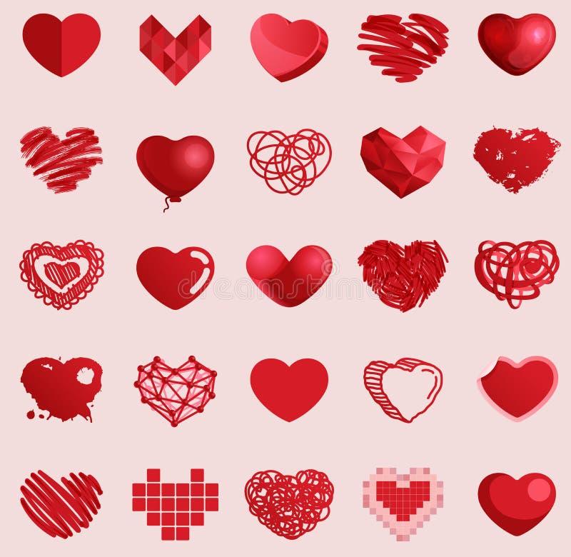 Rode hart vector vastgestelde pictogrammen stock illustratie