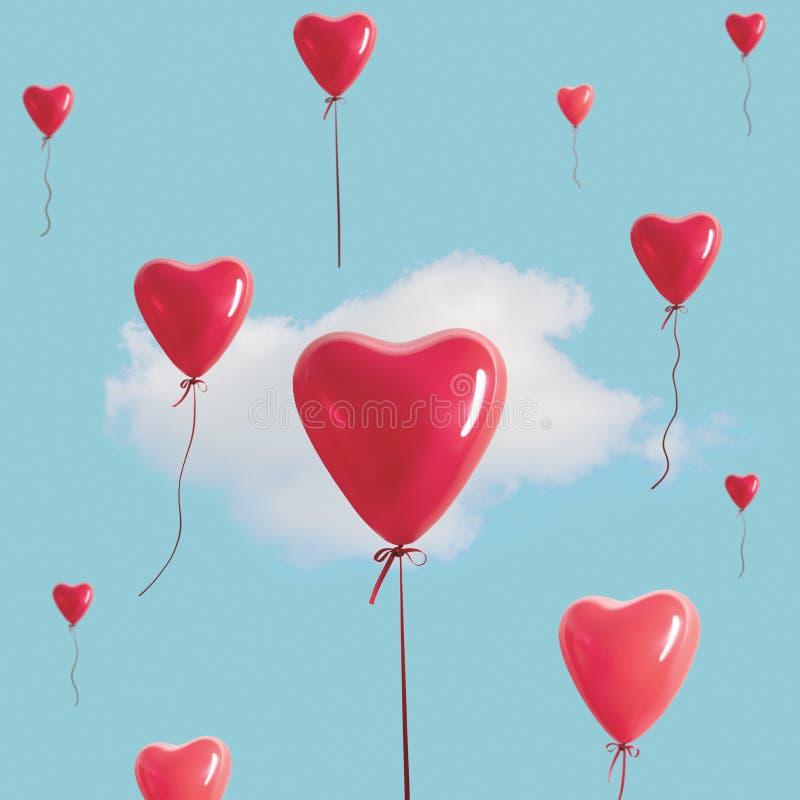 Rode hartballons met witte wolk op blauwe hemel Minimaal Liefdeconcept stock fotografie