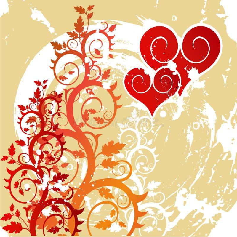 Rode harten op een bloemornament vector illustratie